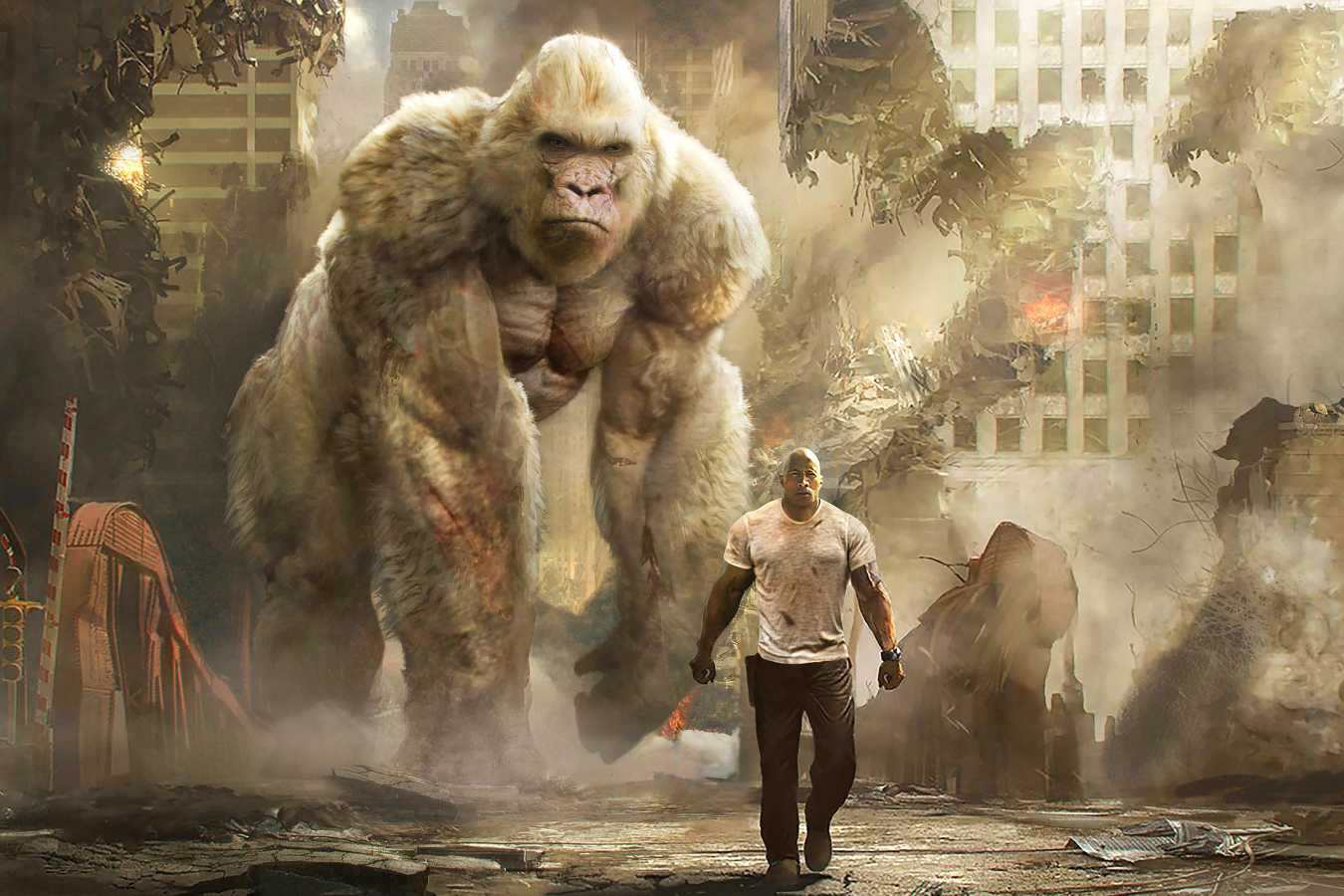 Rampage Dwayne Johnson With George The Giant Gorilla