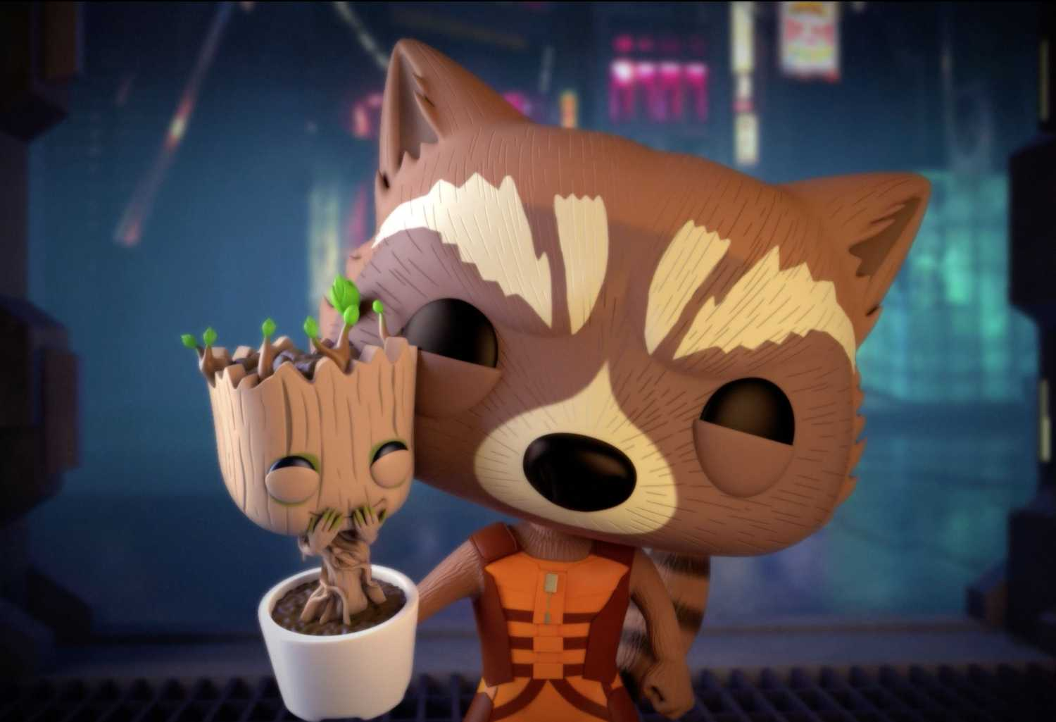 Rocket And Baby Groot Guadians Of The Galaxy Artwork