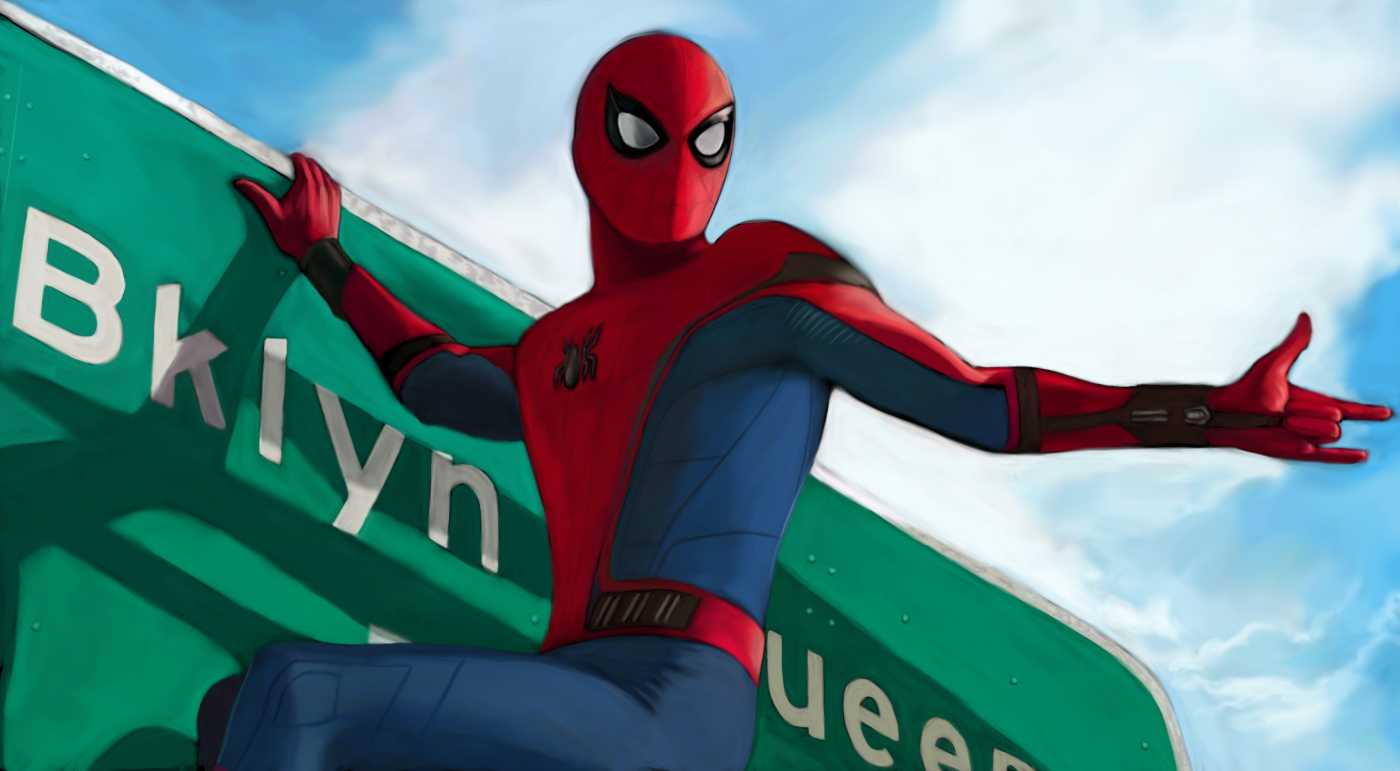 Spider Man Homecoming On Sign Board Artwork